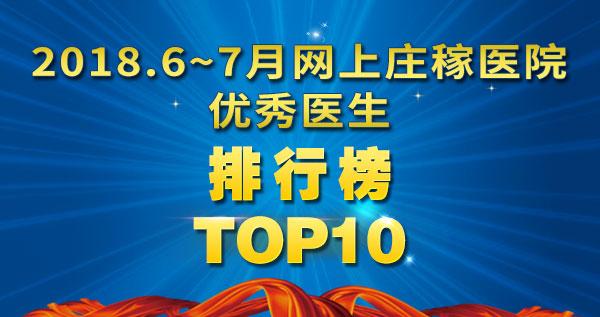 2018年6~7月份网上庄稼医生服务排行榜TOP10